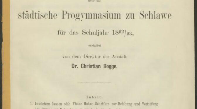 Jahresberichte (1892-1912) des Gymnasiums in Schlawe